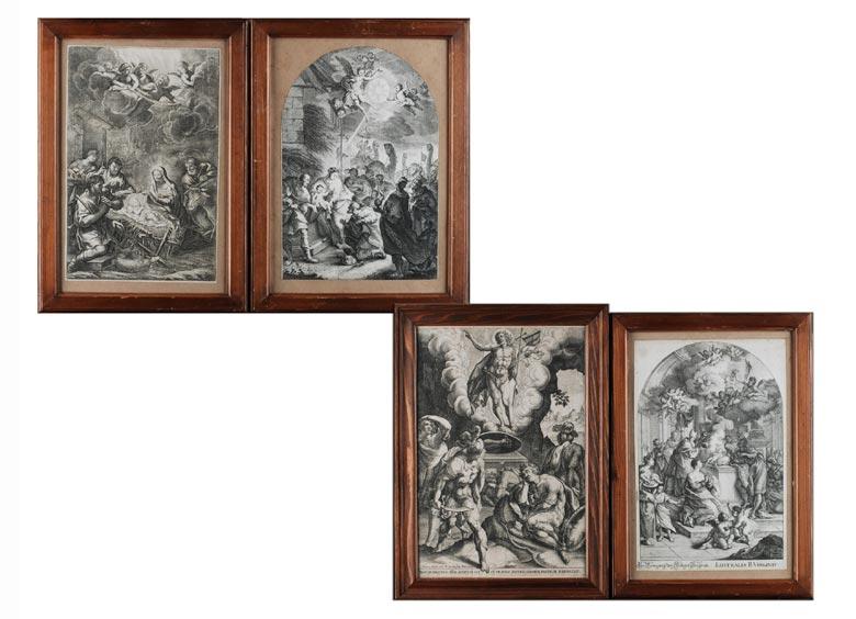 Serie von vier Kupferstichen des 18. Jahrhunderts mit Szenen des Neuen Testaments