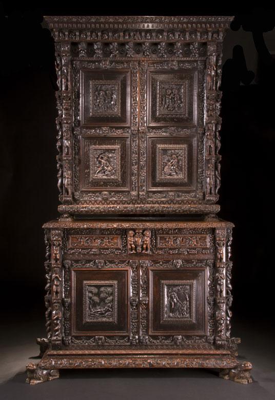 Großer, seltener Genueser Aufsatzschrank des 17. Jahrhunderts und später
