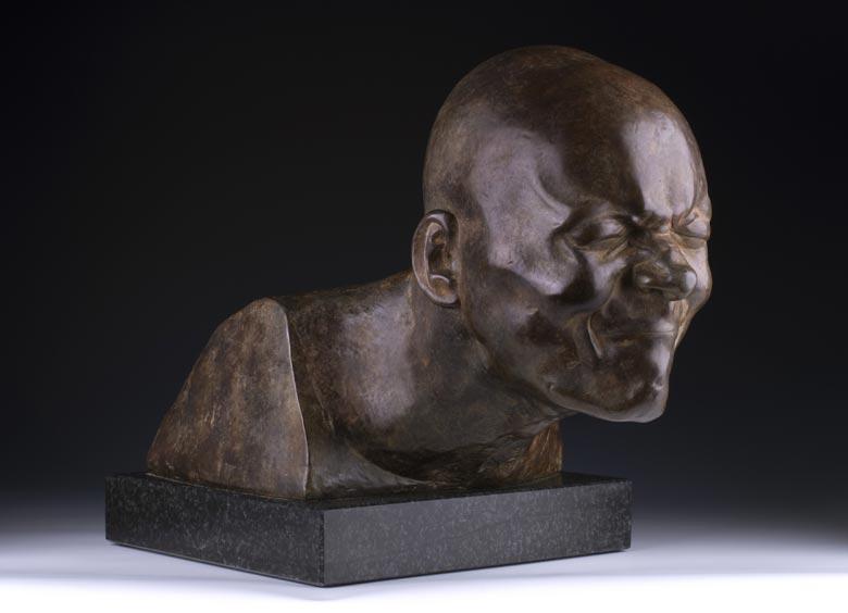 Bronzekopf eines Grimasse schneidenden Mannes nach Modellvorbild von Franz Xaver Messerschmidt (1736 Wiesensteig - 1783 Pressburg)