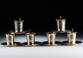 Detail images:  Satz von sechs Silbertassen