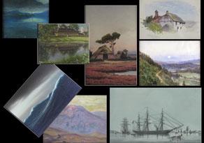 Detail images:  Konvolut von acht Aquarellen und Pastellen unter Glas gerahmt