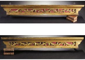 Detail images:  Paar geschnitzte, gefasste und vergoldete Wandkonsolen beziehungsweise Lambrequins