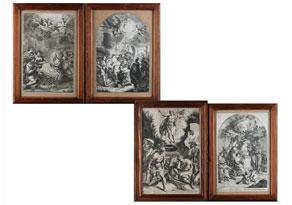 Detail images:  Serie von vier Kupferstichen des 18. Jahrhunderts mit Szenen des Neuen Testaments