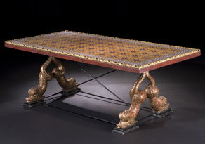 Detail images:  Italienischer niedriger Salontisch mit Delfinfüßen und Mosaikplatte