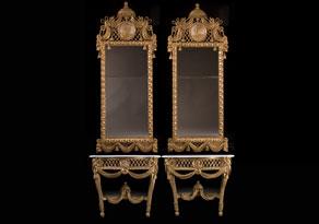 Detailabbildung: Paar Louis XVI-Wandkonsolen mit hohen Spiegelaufsätzen