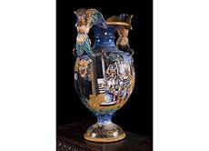 Detail images: Große Majolika-Vase, Italien, 19. Jahrhundert