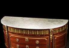 Detailabbildung: Bedeutende, französische Louis XVI-Kommode, gestempelt LOUIS MOREAU , um 1780