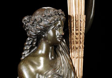 Detail images: Große figürlich gestaltete Bronzekandelaber