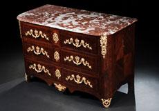 Detail images: Französische Régence-Kommode mit Marmorplatte
