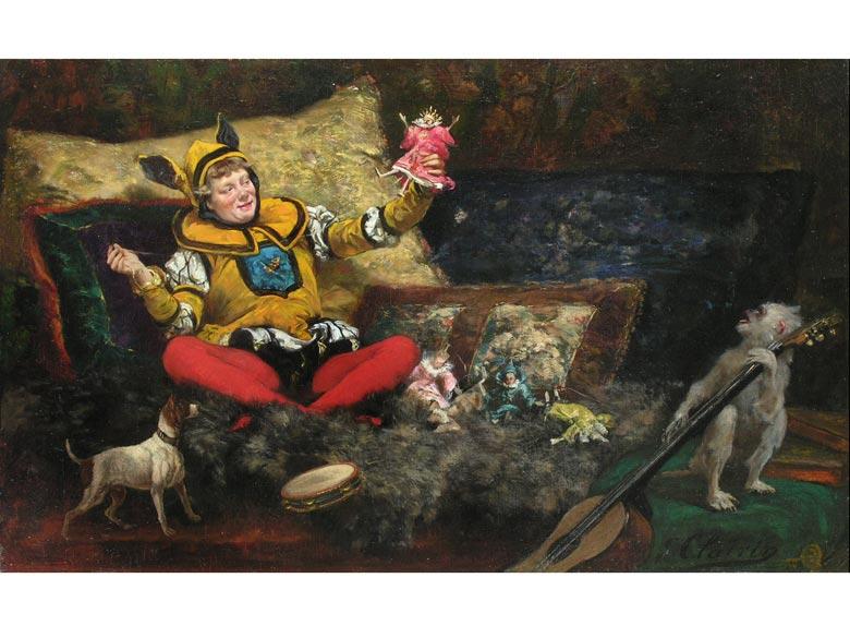 Georges Jules Victor Clairin, 1843 - 1919, Puppenspielender Narr mit gitarrespielendem Äffchen