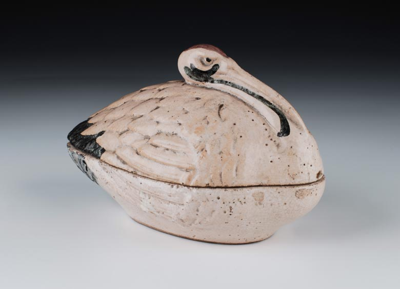 Keramik-Deckelschale in Form eines Kranichs