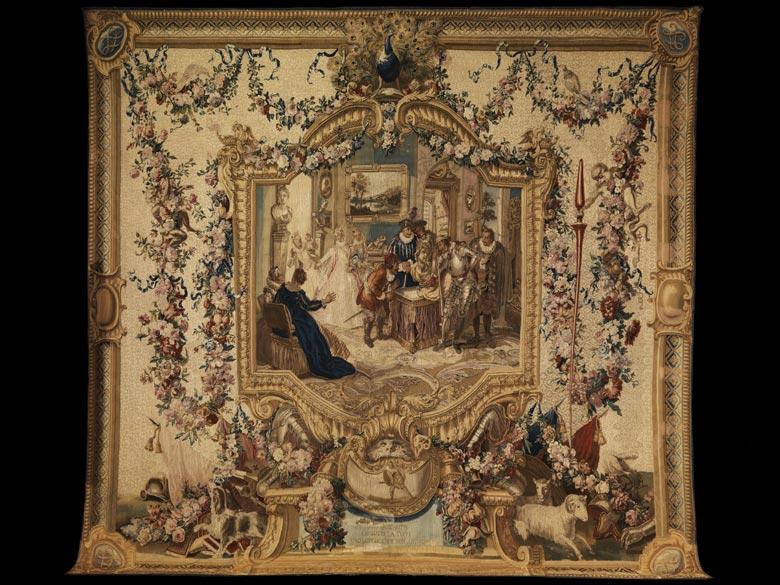 Bedeutender, musealer Gobelin aus der Pariser Gobelinmanufaktur Jean und Michel Audran, um 1750