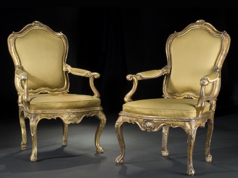 Paar italienische Rokoko-Sessel