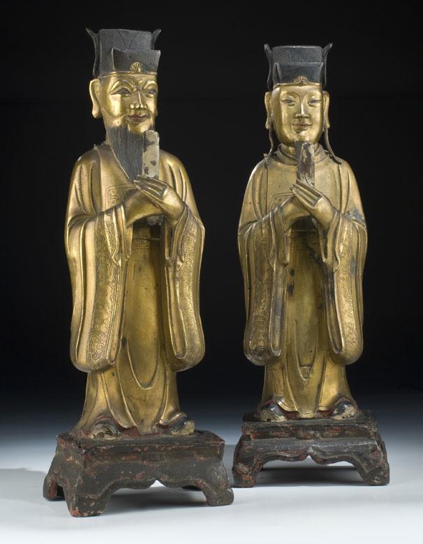 Paar chinesische Bronzefiguren