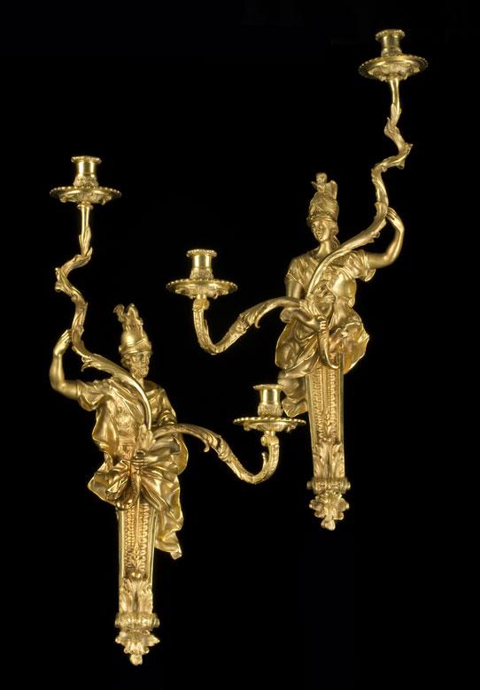 Paar Wandappliken in vergoldeter Bronze