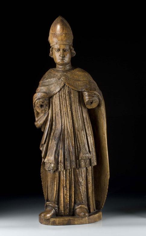 Schnitzstatue eines heiligen Bischofs