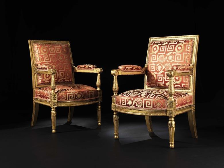 Paar blattvergoldete Louis XVI-Sessel
