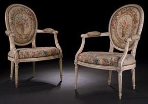 Detail images:  Paar signierte Louis XVI-Fauteuils mit Aubusson-Bezügen