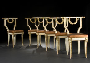 Detail images:  Satz von sechs Stühlen