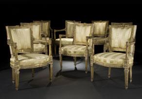 Detailabbildung: Satz von acht frühklassizistischen Armlehnstühlen