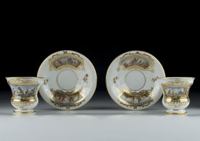 Detail images:  Zwei Dresdner Porzellantassen mit Untertassen