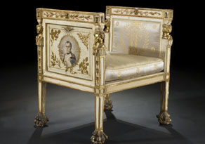 Empire-Tabouret mit Medaillon-Portrait