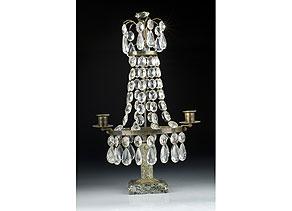Detail images:  Russischer Tischkerzenleuchter mit Kristallbehang
