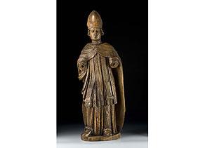 Detail images:  Schnitzstatue eines heiligen Bischofs