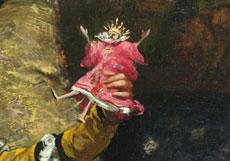 Detail images: Georges Jules Victor Clairin, 1843 - 1919, Puppenspielender Narr mit gitarrespielendem Äffchen
