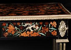 Detail images: Reich eingelegter und mit Bronzen dekorierter Salontisch