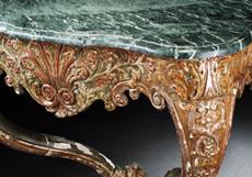 Detail images: Barocke Wandkonsole mit grüner Marmorplatte