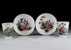Detail images: Satz von sechs Meißener Tassen und Untertassen mit antiken Bildszenen