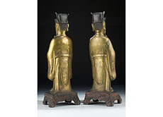 Detail images: Paar chinesische Bronzefiguren