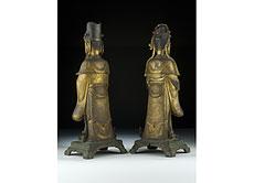 Detail images: Paar chinesische Bronzestatuen