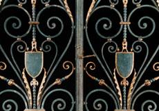 Detail images: Paar Gittertür-Flügel mit gerade schließendem Aufsatz