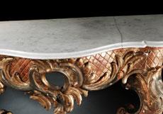 Detail images: Rokoko-Wandkonsole mit Marmorplatte