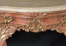 Detail images: Rokoko-Stiegenwandkonsoltisch mit Marmorplatte