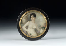 Detailabbildung: Schildpattdose mit Miniaturbildnis von Natale Schiavoni, 1777 Chioggia - 1858 Venedig