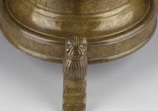 Detail images: Spätgotischer Messingleuchter mit Löwenfiguren