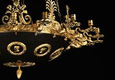 Detail images: Höfischer Empire-Deckenleuchter in Bronze und Feuervergoldung