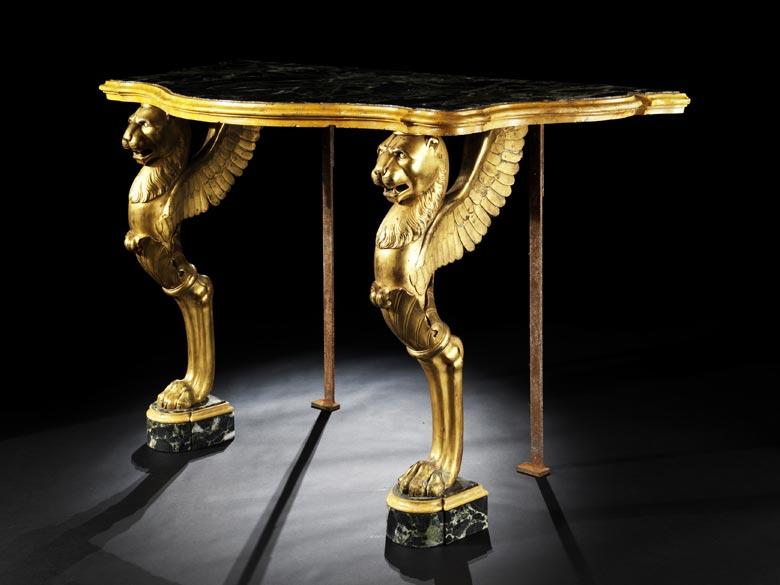 Wandkonsole in vergoldeter Bronze und Marmor