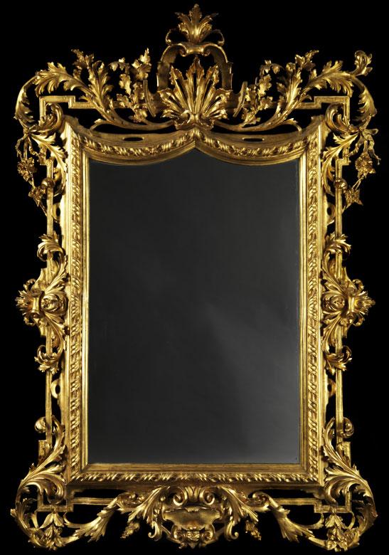 Großer, vergoldeter Salonspiegel