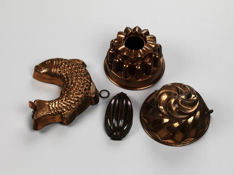 Konvolut von vier Kupfermodeln