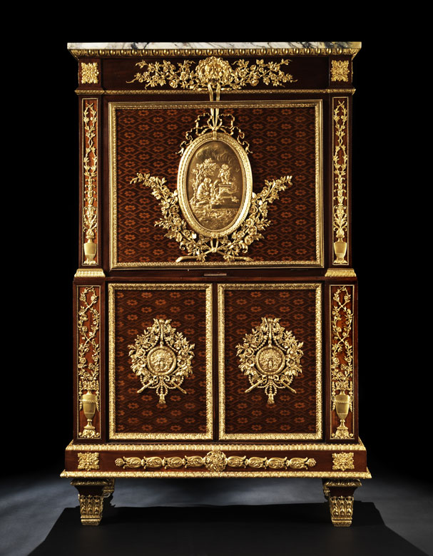 Eleganter, reich dekorierter Klappsekretär im Stil Napoleon III
