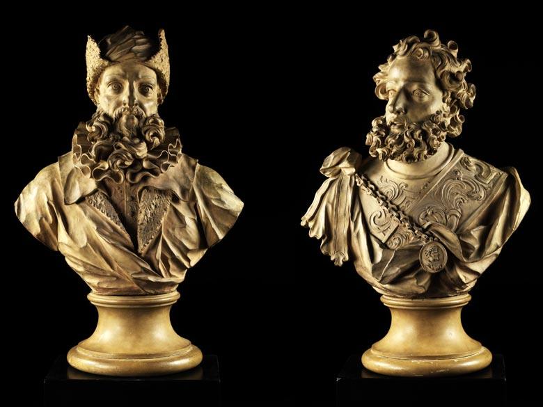 Büstenpaar der Stammhausbegründer der lombardischen Familie Visconti