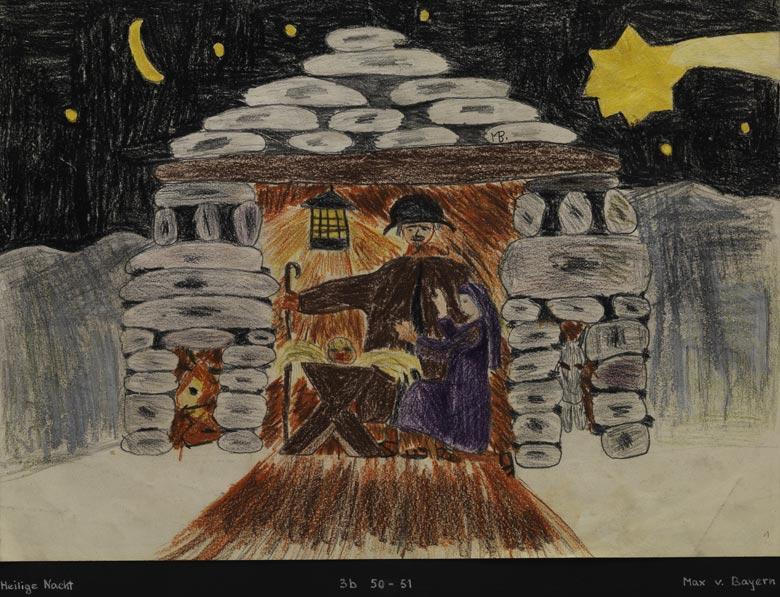 Kinderzeichnung einer weihnachtlichen Darstellung