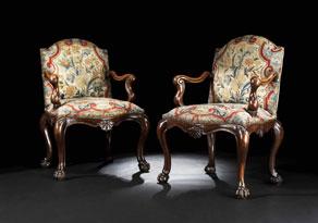 Detailabbildung:  Paar barocke Armlehnsessel mit Gobelinbezug