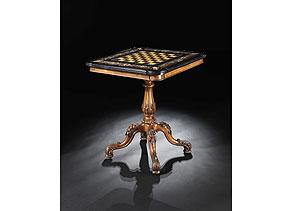 Detail images:  Spieltisch mit Schachbretteinlage und höchst qualitätvoller Umrahmung in Mikromosaik