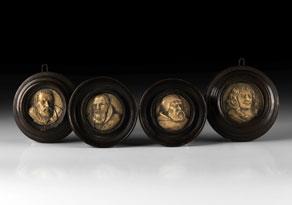 Detail images:  Satz von vier Portraitbildnissen in Bein