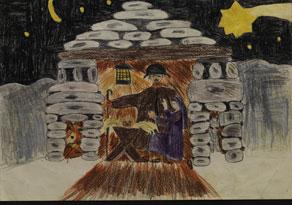 Detail images:  Kinderzeichnung einer weihnachtlichen Darstellung